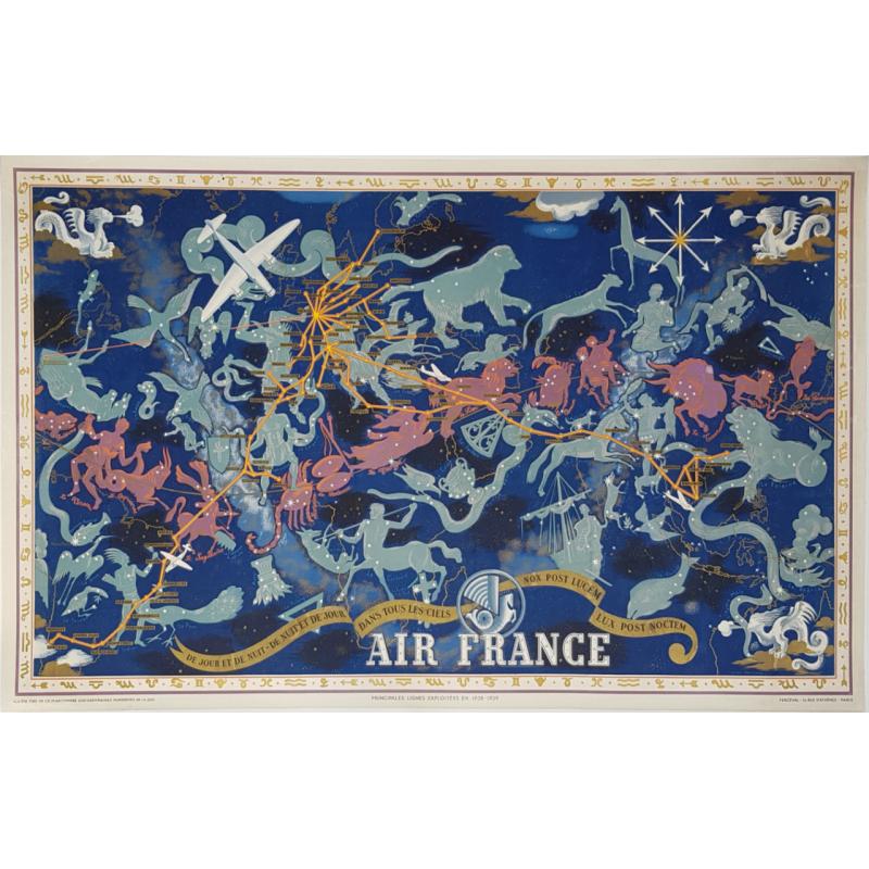 Original vintage poster Planishpere Air France De Jour et de Nuit 1939 Lucien BOUCHER