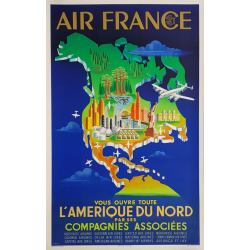 Original vintage poster Air France North America PLAQUET