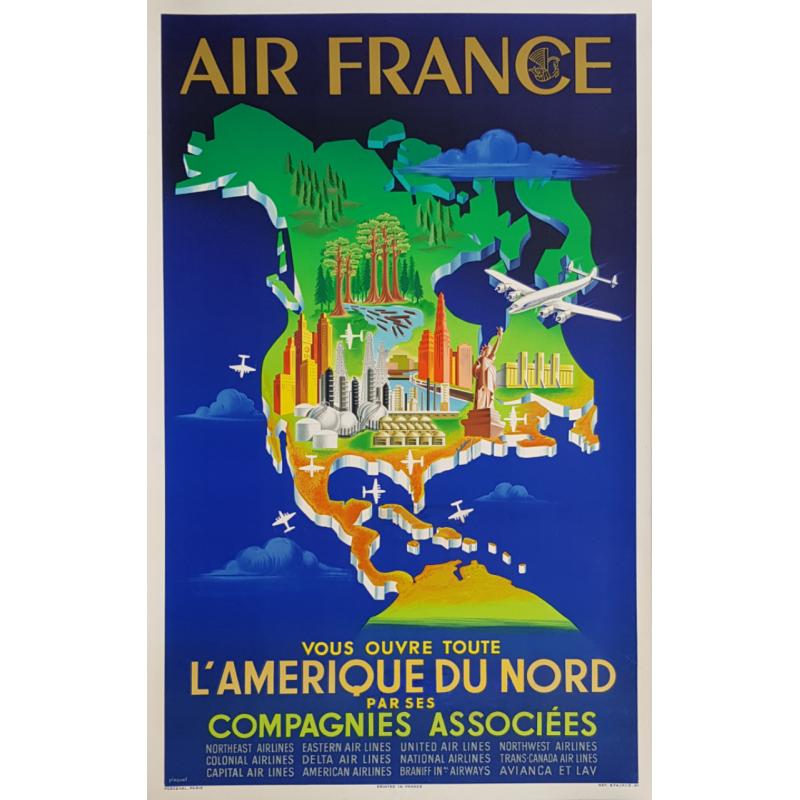 Affiche ancienne originale Air France Amérique du Nord PLAQUET