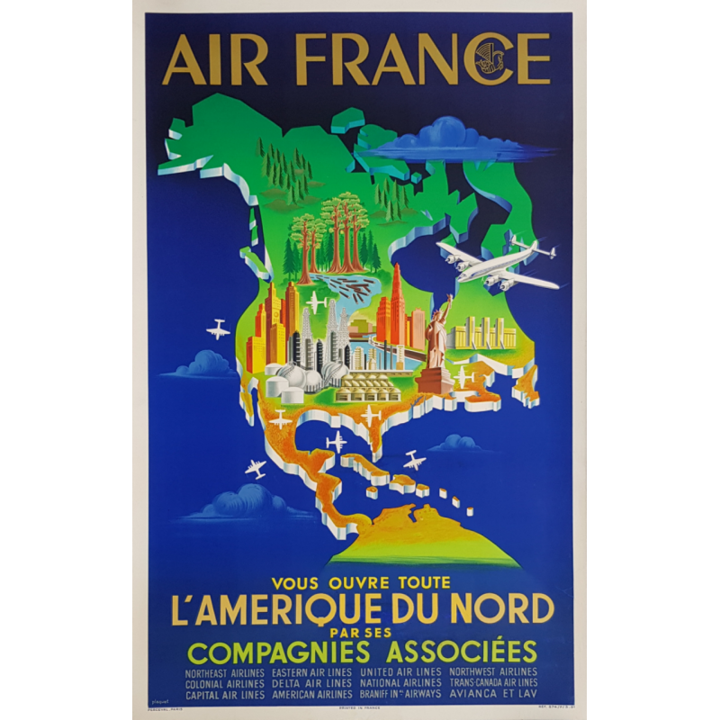 Original vintage poster Air France North America PLAQUET