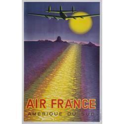 Affiche ancienne originale Air France Amérique du Sud VASARELY