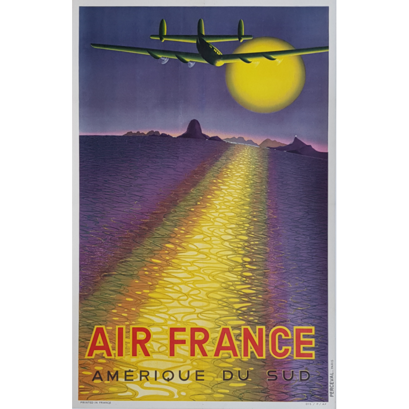 Affiche ancienne originale Air France Amérique du Sud VASARELY