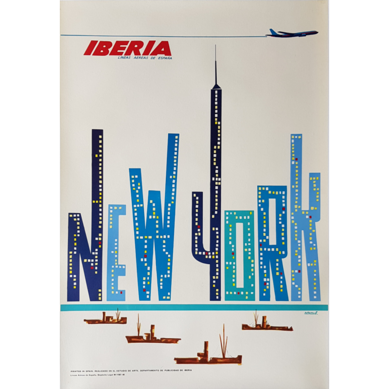 Affiche ancienne originale Ibéria New York Lineas aereas de Espana