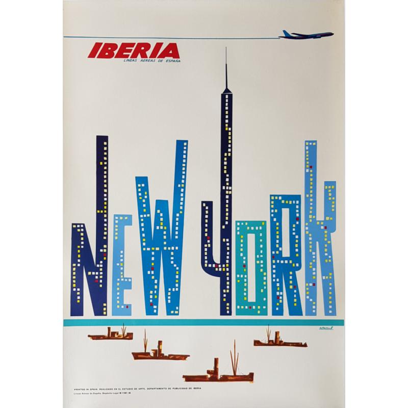 Original vintage poster Ibéria New York Lineas aereas de Espana