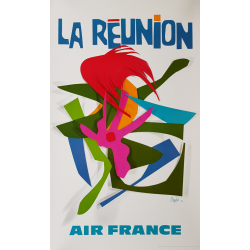 Affiche ancienne originale Air France La Réunion Raymond PAGES