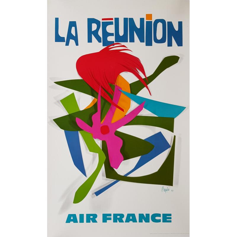 Affiche ancienne originale Air France La Réunion Raymond PAGES
