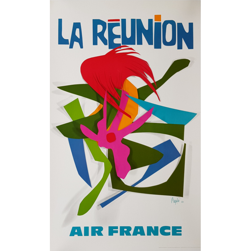 Original vintage poster Air France La Reunion island Raymond PAGES