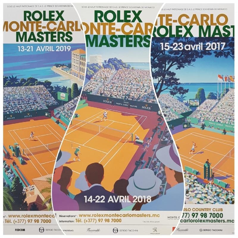 Lot of 3 Original posters Tennis Monte-Carlo Rolex Master 2017 2018 2019