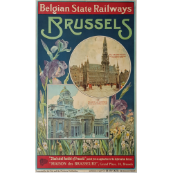 Affiche ancienne originale Brussels Belgian State Railways