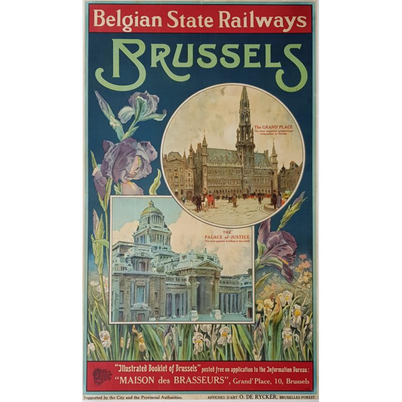 Affiche ancienne originale Brussels Belgian State Railways