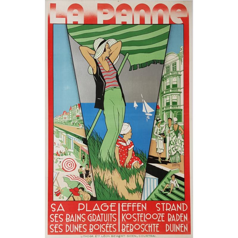Affiche ancienne originale La Panne Belgique Constant NORTIER