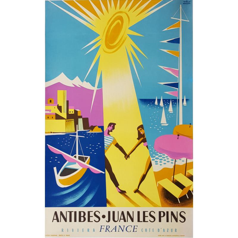 Affiche ancienne originale Antibes Juan Les Pins Roland HUGON