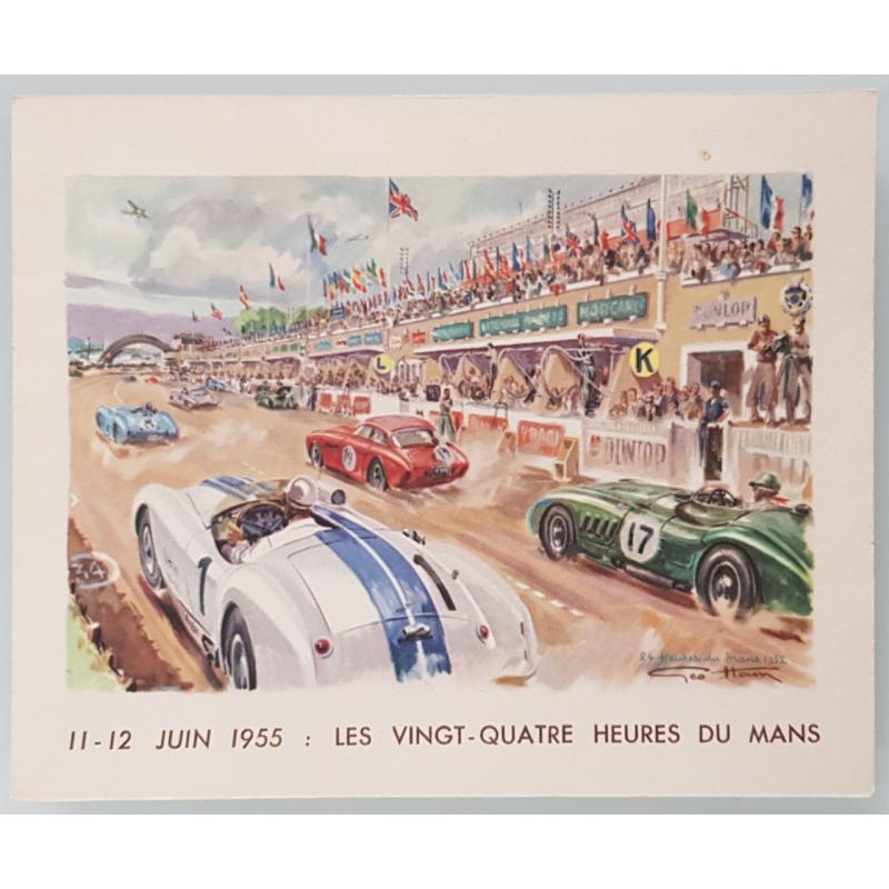 Carte ancienne originale 24 heures mans 1955 GEO HAM