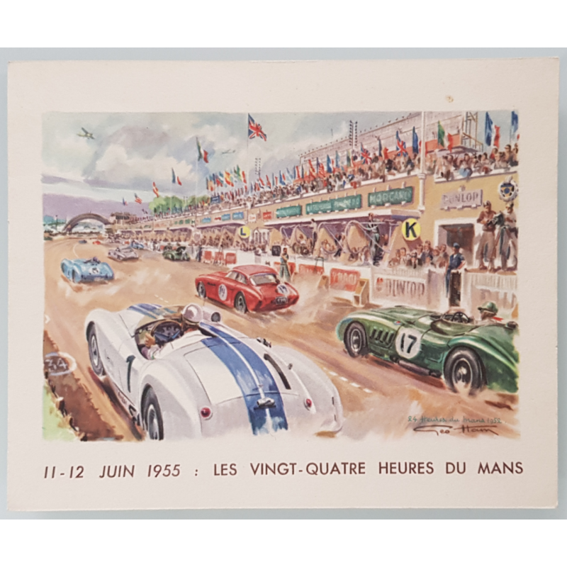Original vintage card 24 heures mans 1955 GEO HAM