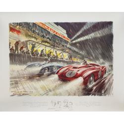 Affiche ancienne originale 24 heures mans 1954 GEO HAM