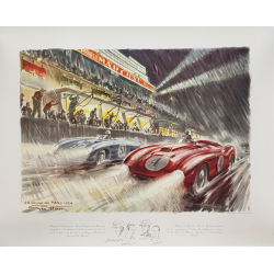 Original vintage poster 24 heures mans 1954 GEO HAM