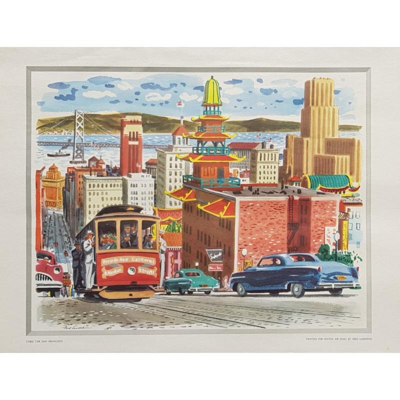 Vintage poster Cable Car Golden Gate San Francisco LUDEKENS