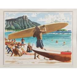 Affiche ancienne Waikiki beach Surf Hawaii LUDEKENS