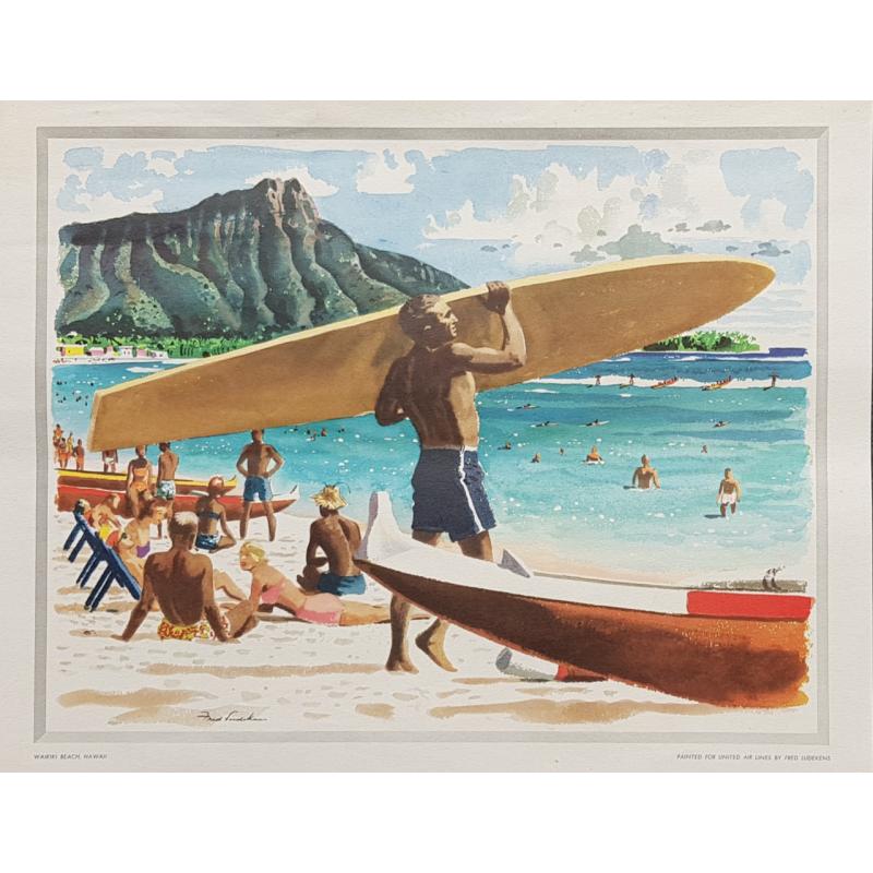 Affiche ancienne Waikiki beach Surf Hawaii LUDEKENS