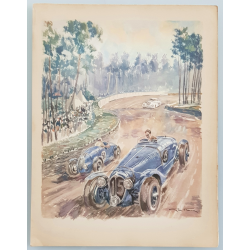 Original vintage lithography 24 heures mans Delahaye Simca 1938 GEO HAM
