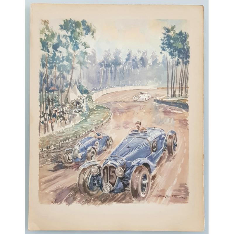 Lithographie ancienne originale 24 heures mans Delahaye Simca 1938 GEO HAM