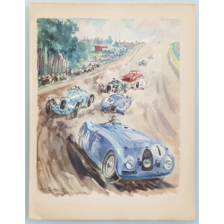Lithographie ancienne originale 24 heures mans Bugatti Delage 1939 GEO HAM