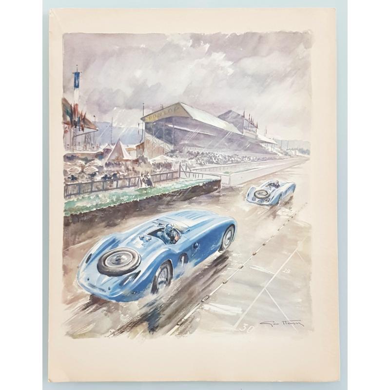 Lithographie ancienne originale 24 heures mans Bugatti Pierre Veyron tribunes 1937 GEO HAM