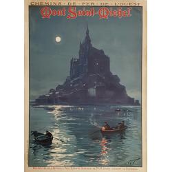 Affiche ancienne originale Mont St Michel Chemin de fer de l'Ouest Louis TAUZIN