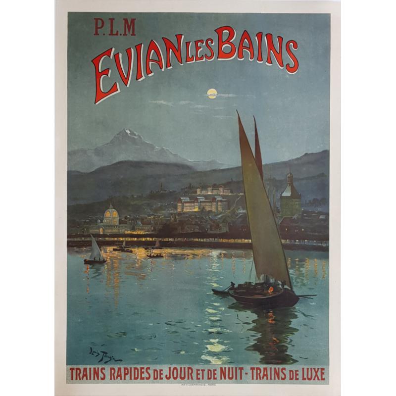 Affiche ancienne originale Evian Les Bains PLM Louis TAUZIN