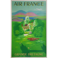Affiche ancienne originale Air France Grande Bretagne Lucien BOUCHER