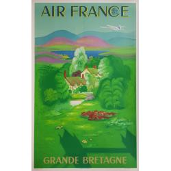 Original vintage poster Air France Grande Bretagne Lucien BOUCHER