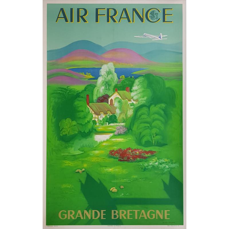 Affiche ancienne originale Air France Grande Bretagne Lucien BOUCHER