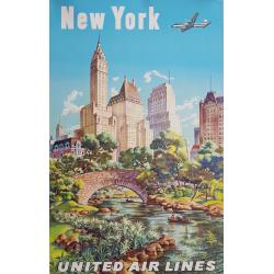 Affiche ancienne originale United Airlines New York Joseph FEHER