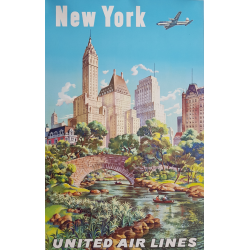 Original vintage poster United Airlines New York Joseph FEHER
