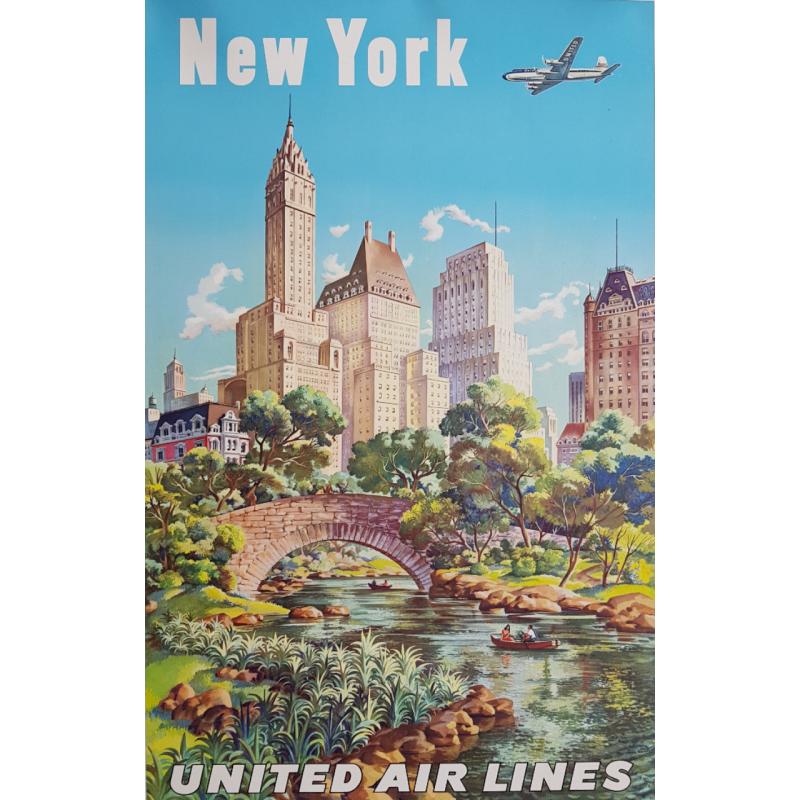 Original vintage poster United Airlines New York Joseph FEHER