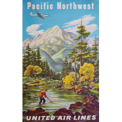 Affiche ancienne originale United Airlines Pacific Northwest FEHER