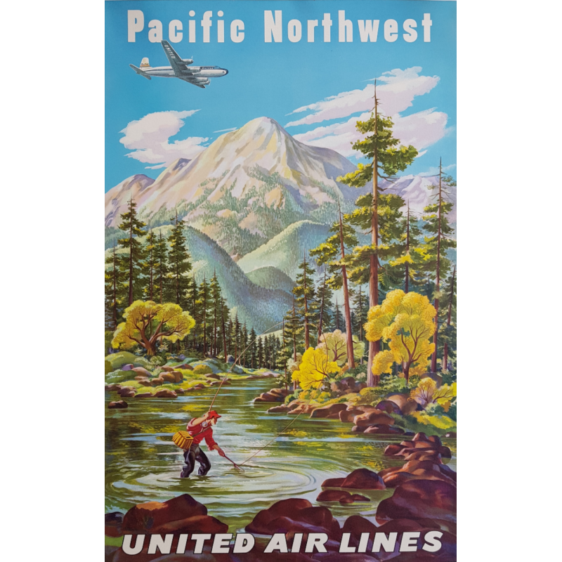 Original vintage poster United Airlines Pacific Northwest FEHER