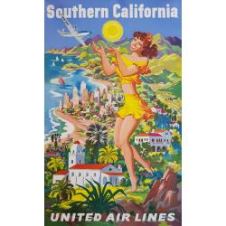 Affiche originale United Airlines Southern California Joseph FEHER