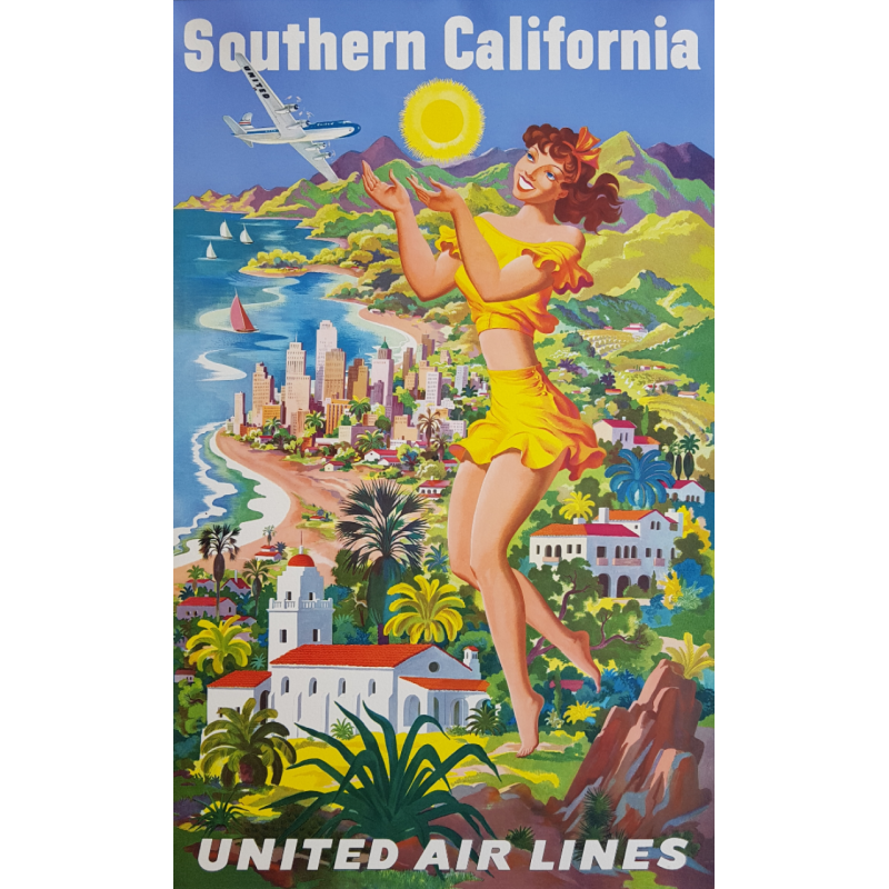 Vintage poster United Airlines Southern California Joseph FEHER