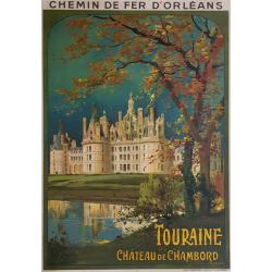 Affiche ancienne originale Touraine Château de CHAMBORD Louis TAUZIN