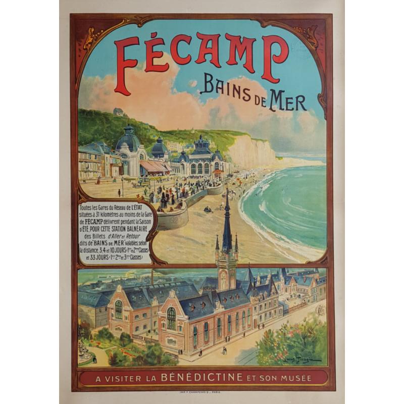 Affiche ancienne originale Fécamp Bains de Mer Bénédictine Louis TAUZIN