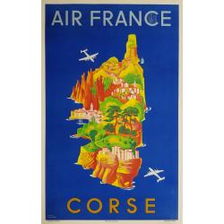 Affiche ancienne originale Air France Corse 1949 Lucien BOUCHER