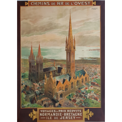 Affiche ancienne originale St POL DE LEON Bretagne TOUSSAINT