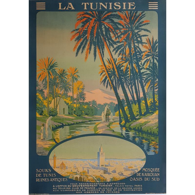 Affiche ancienne originale La Tunisie Souks Mosquee Kairouan CONSTANT DUVAL