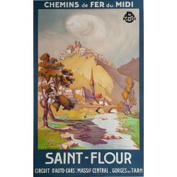 Affiche ancienne originale Saint Flour Chemin fer Midi LE MEILLEUR