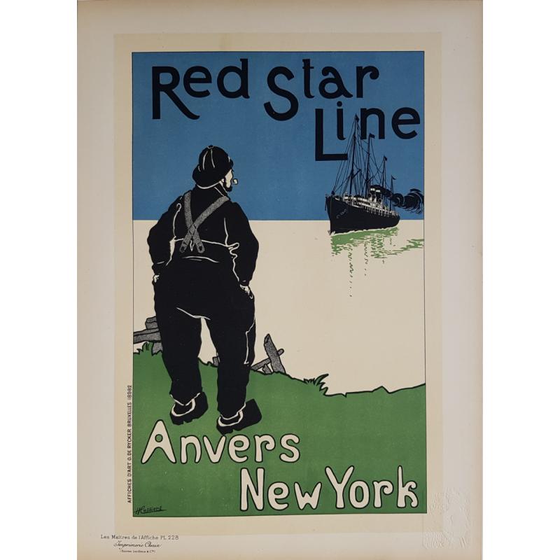 Maîtres de l'Affiche Original PLate 228 Red Star Line Anvers New-York CASSIERS