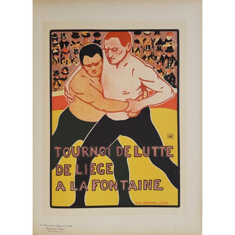 Maîtres de l'Affiche Original PLate 224 Tournoi de Lutte de Liège RASSENFOSSE