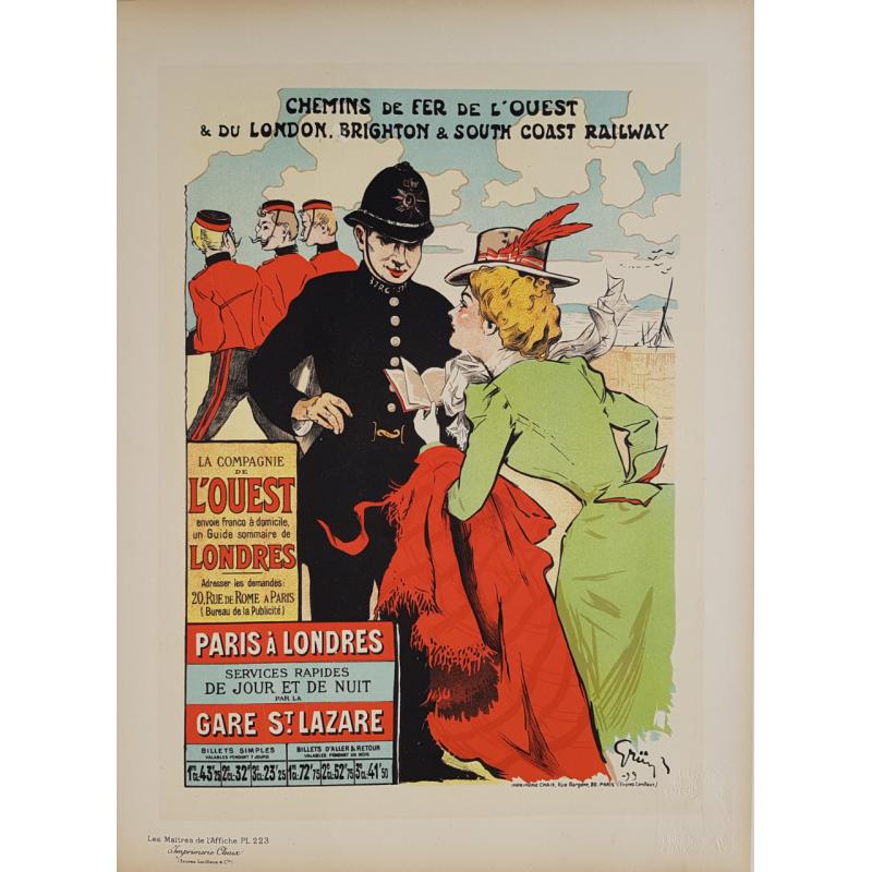 Maîtres de l'Affiche Planche originale 223 Chemin Fer Ouest Paris Londres GRUN