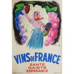 Affiche ancienne originale publicitaire Vins de France GALLAND