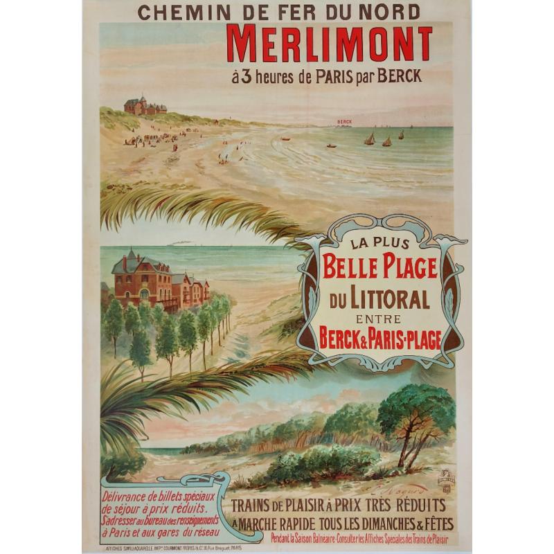 Affiche ancienne originale chemin fer Nord Merlimont NOGARO